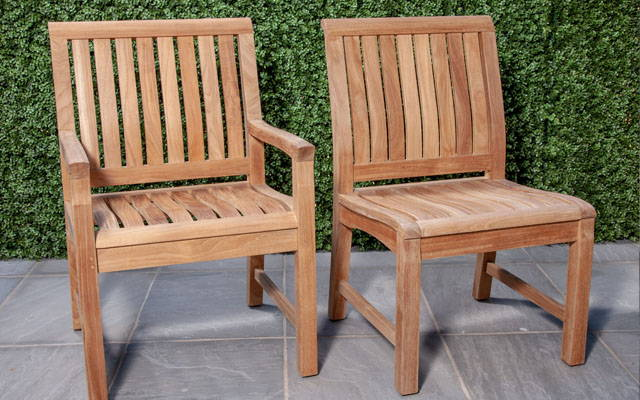 Two teak chairs