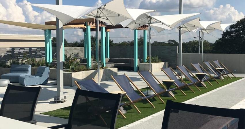 Umbrellas to shade the hot Atlanta sun