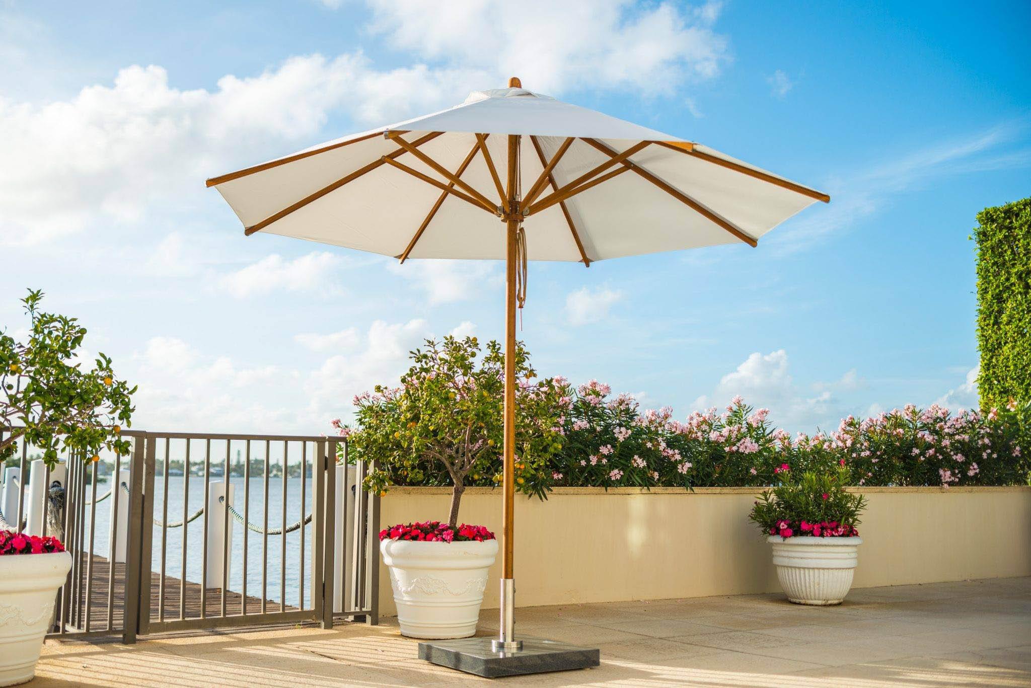 A wooden frame umbrella