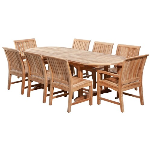 POVL Outdoor Boden 98.5in Oval Teak Dining Set