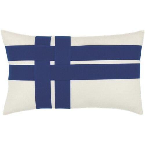 Elaine Smith Pillows Cobalt Plaid Lumbar Pillow