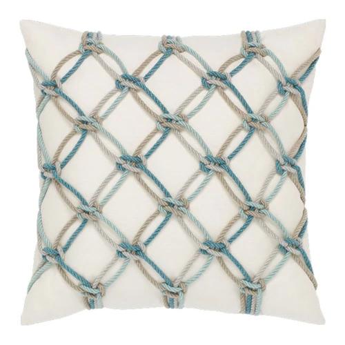 Elaine Smith Pillows Aqua Rope Pillow
